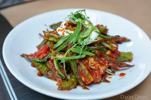 Blistered Okra tomato, fenugreek, basil, lebni