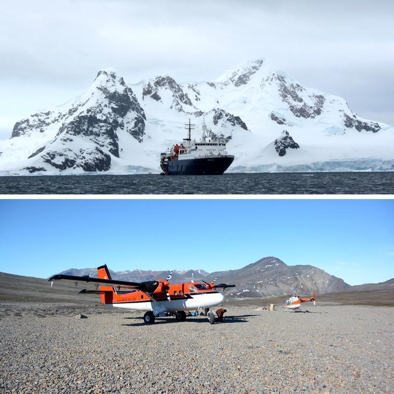 Kuva laivasta Etelämantereella ja lentokoneesta Nunavutissa, postauksessa Kokemuksia Etelämantereelta