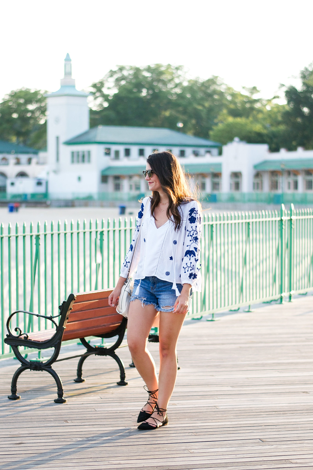 Casual Style Embroidered Top Jean Shorts Outfit