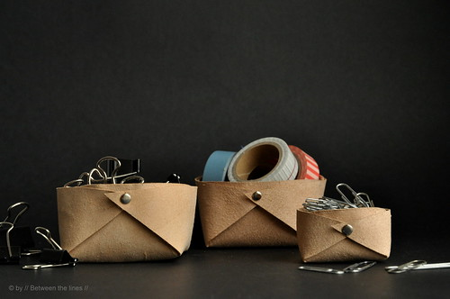 Folded leather basket :: a minimalistic DIY | by // Between the Lines //