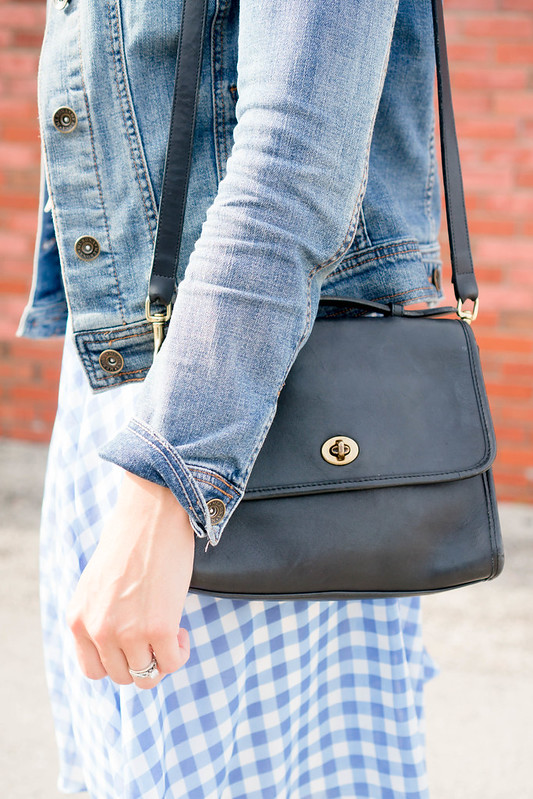 gingham skirt + white tee + denim jacket + navy purse Style On Target blog