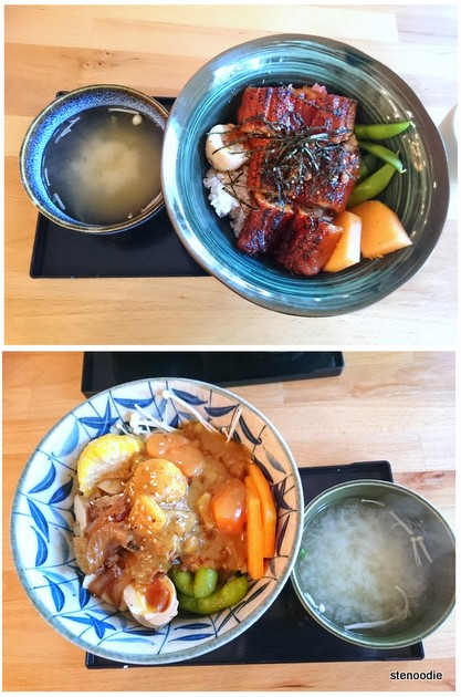 Unagi Rice & Curry Gyu Udon with miso soup