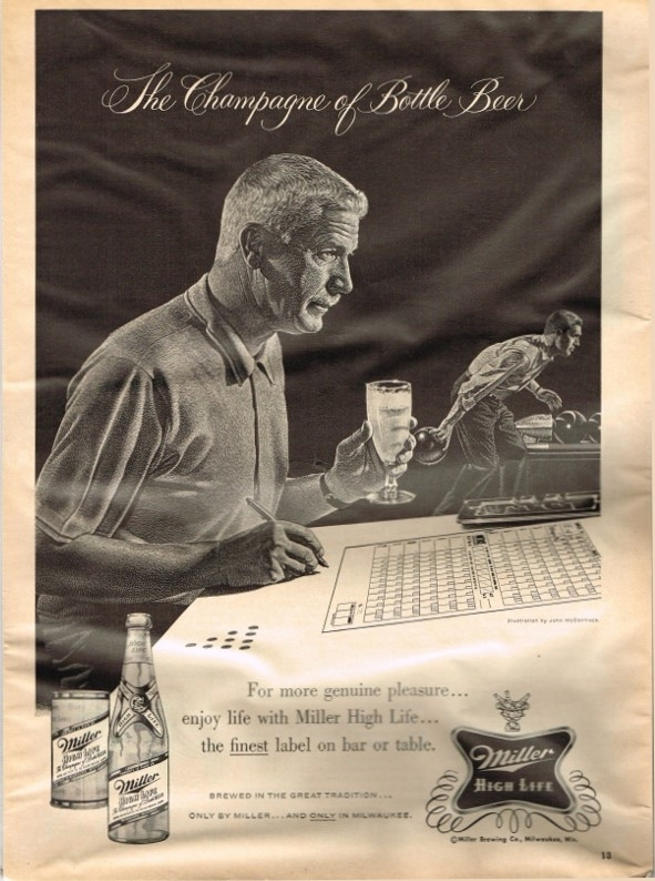 Miller-High-Life-Beer-Paper-Ads-Miller-Brewing-1960-bowling