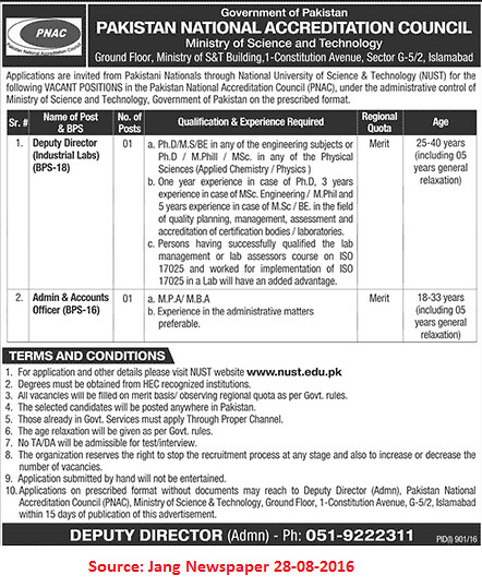 Pakistan National Accreditation Council Jobs