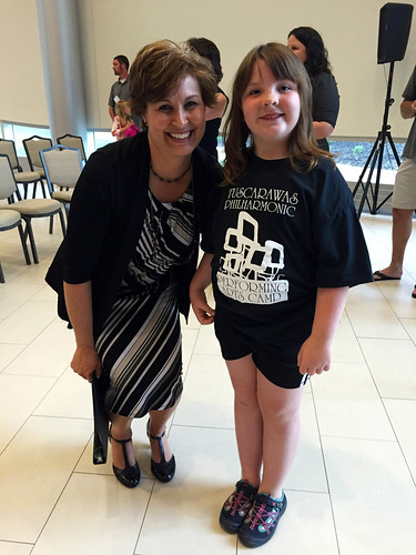 Lucy and Mrs. Hinkle after her performing arts camp performance