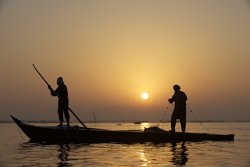Fishing at sunrise in Lake Edku, Egypt. Photo by Patrick Dugan, 2008.