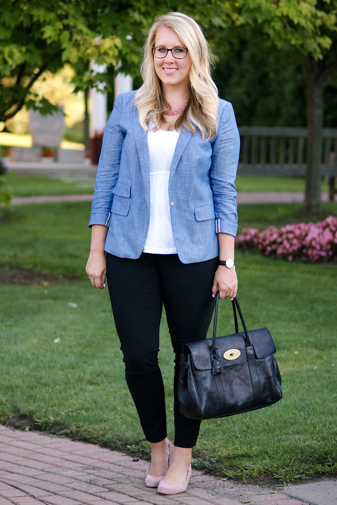 blue blazer with blush accessories