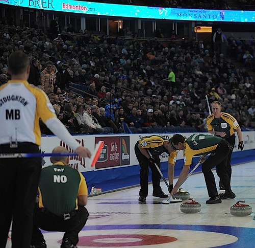 Edmonton Ab.Mar7,2013.Tim Hortons Brier.Northern Ontario skip Brad Jacobs,third Ryan Fry,second E.J.Harnden,lead Ryan Harnden.CCA/michael burns photo | by seasonofchampions