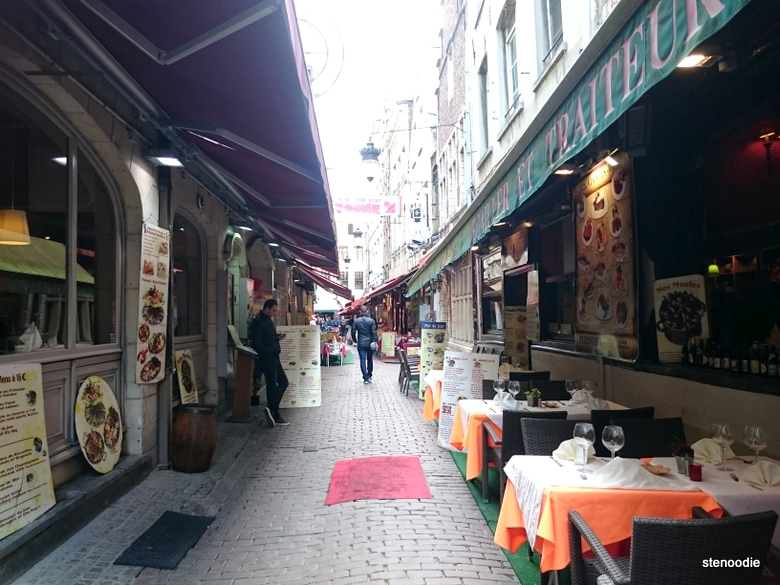 Alleyway of seafood restaurants in Brussels