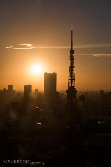 貿易センタービル展望台で東京タワーを撮影