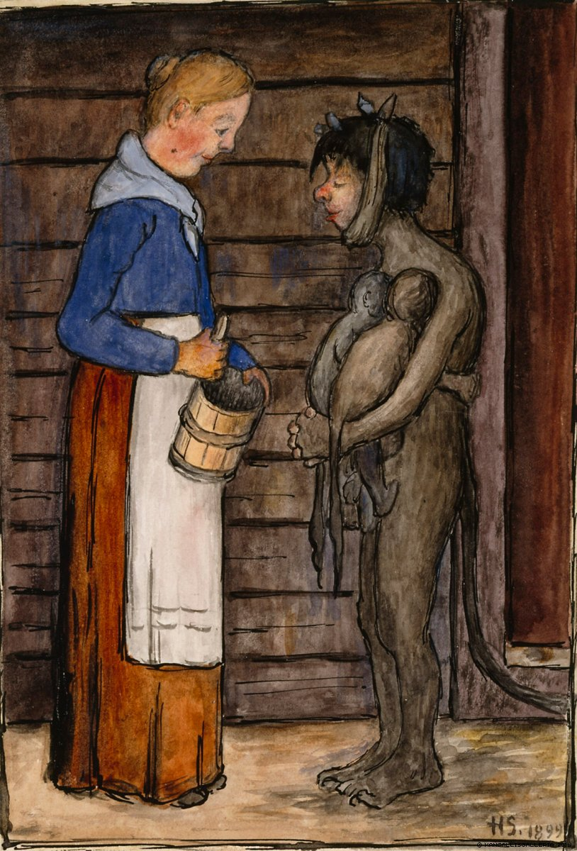 Hugo Simberg - The Farmer's Wife and the Poor Devil, 1899