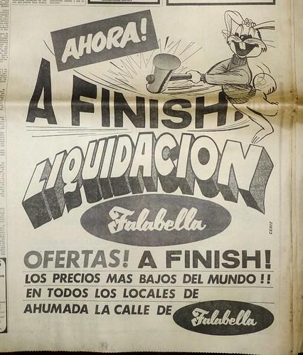 """Falabella, 1970: """"Liquidación a finish"""""""