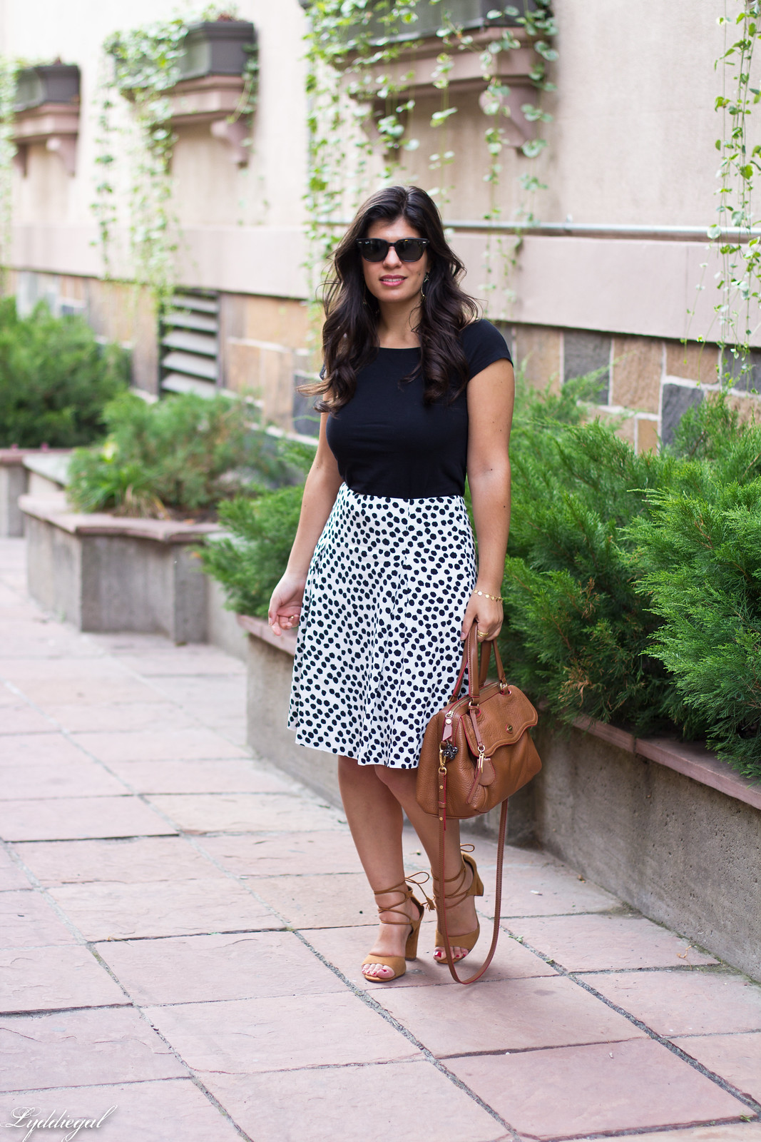 dalmatian print skirt, off the shoulder tee, lace up heels-4.jpg