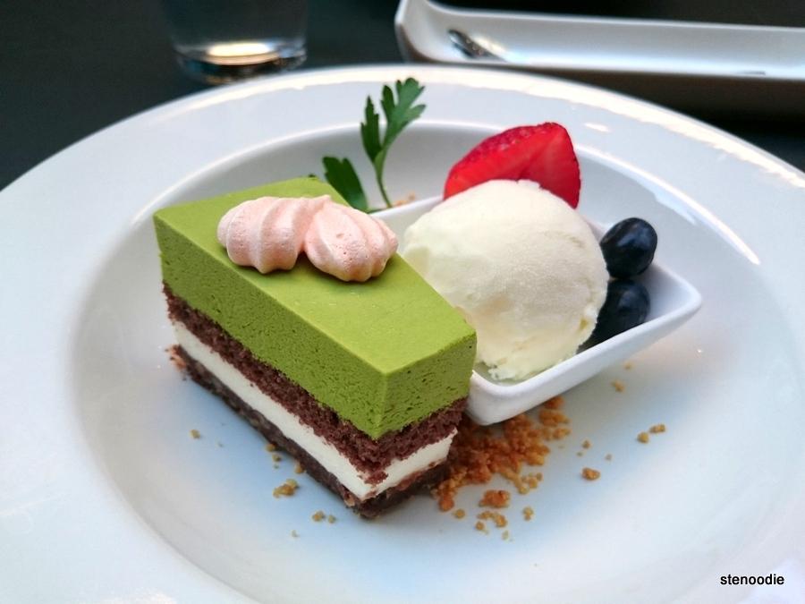 Matcha Mousse Cake with Vanilla Ice Cream