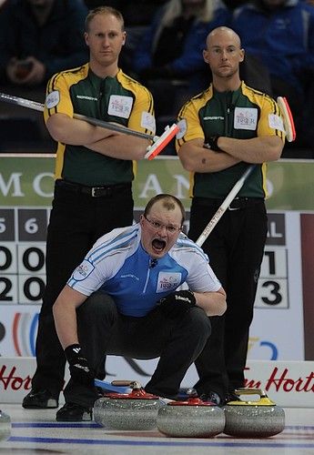 Edmonton Ab.Mar6,2013.Tim Hortons Brier.Quebec third Martin Crete,Northern Ontario,skip Brad Jacobs,third Ryan Fry,CCA/michael burns photo | by seasonofchampions