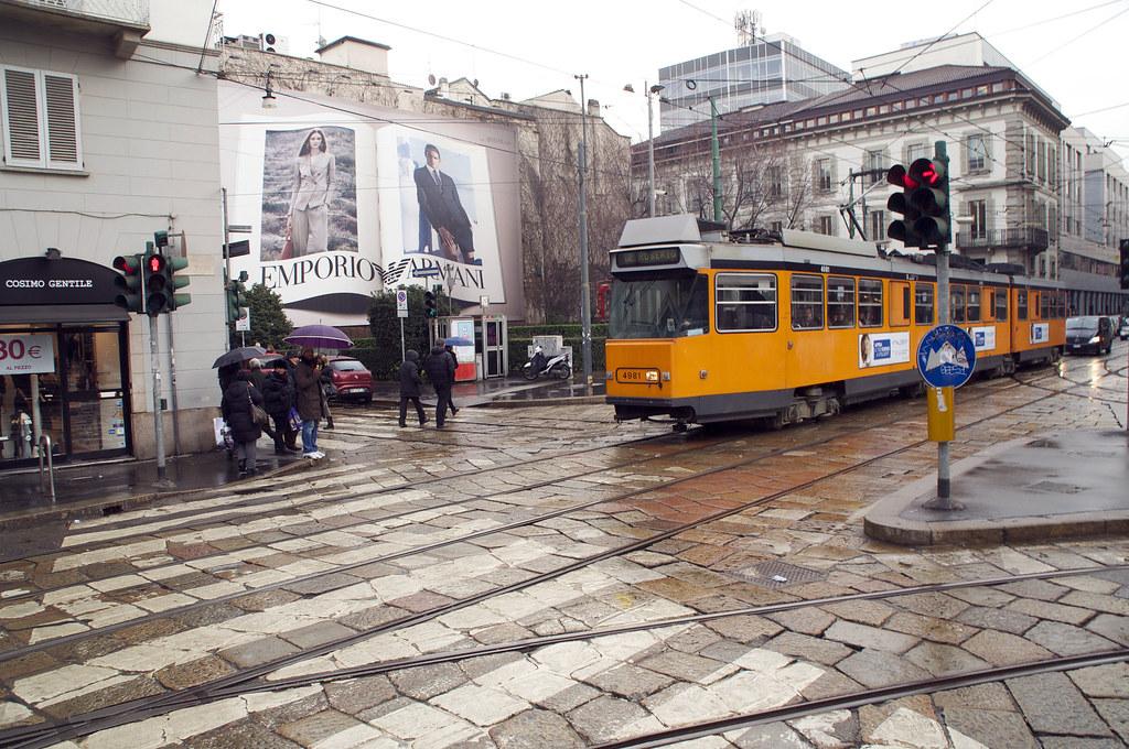 rainy milan tram