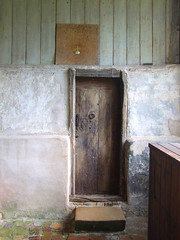 vestry door in the east wall of the south aisle