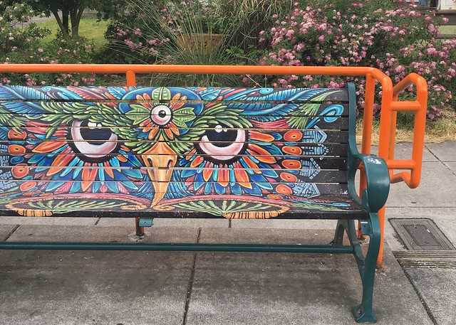 Painted owl bench Portland, Oregon