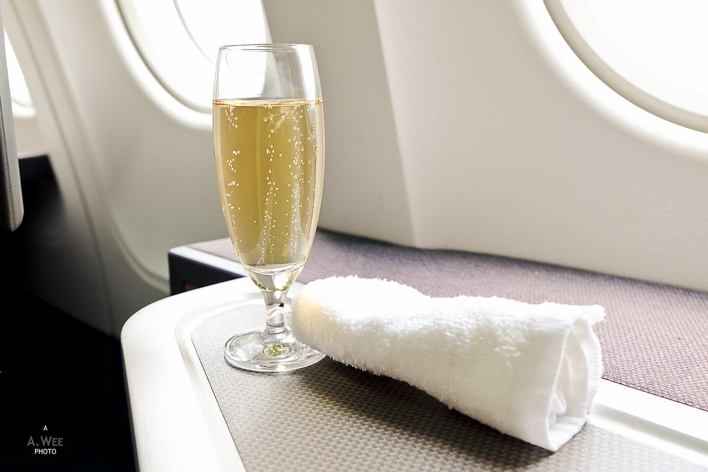 Champagne and hot towel