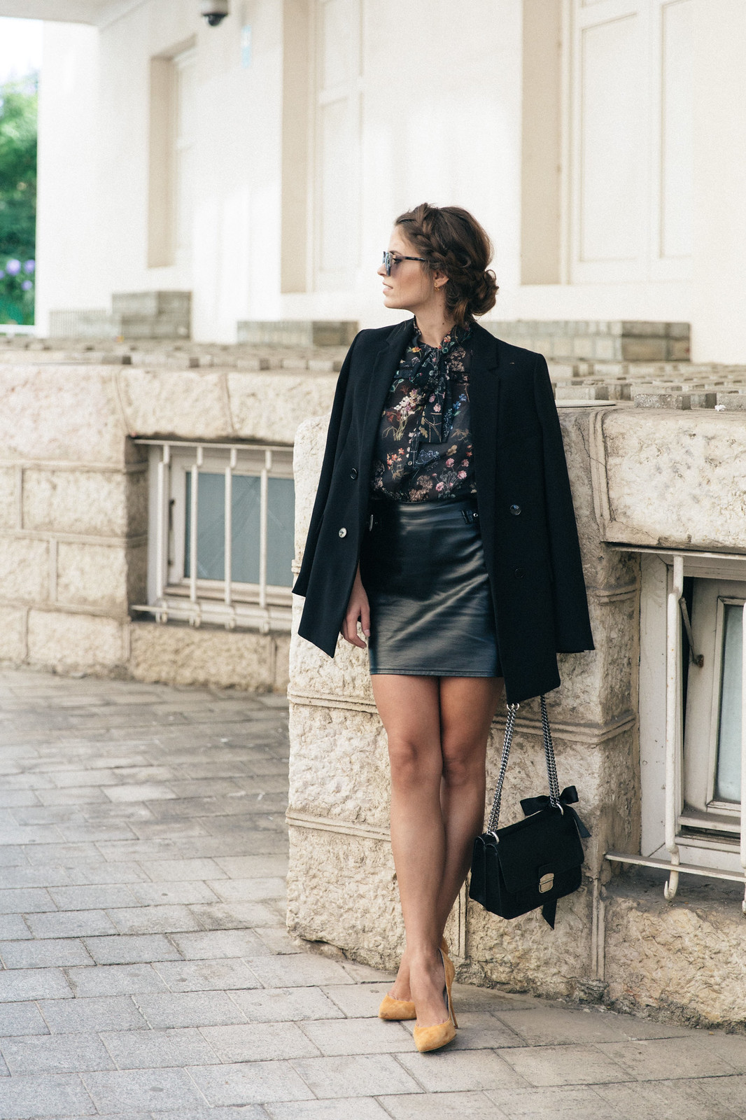 Jessie Chanes Seams for a desire - Buylevard Flowered Shirt Faux Leather Skirt Black Blazer-1