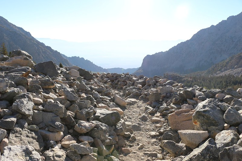 The Kearsarge Pass Trail as it delves its way through a large talus field