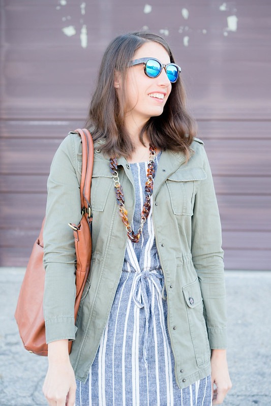 old navy stripe dress + Target green utility jacket + target cognac tote; casual fall outfit | Style On Target blog