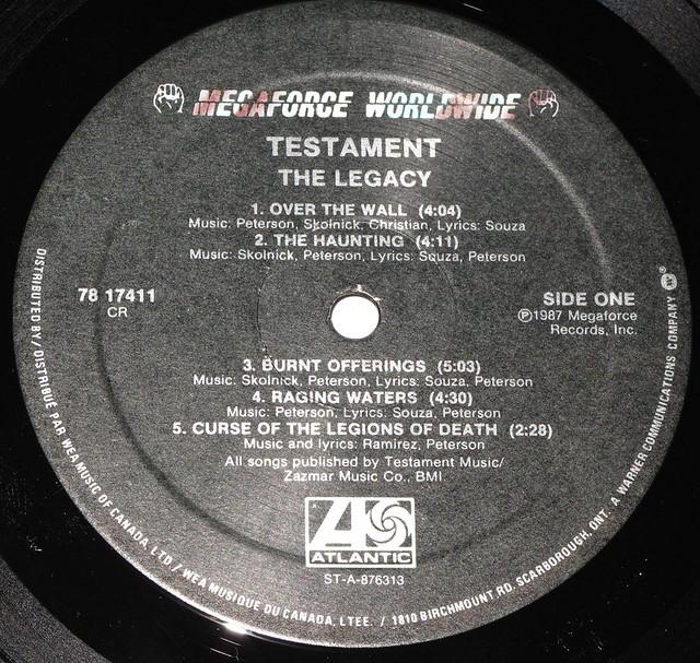 """TESTAMENT THE LEGACY Canada LYRICS SLEEVE 12"""" VINYL LP"""