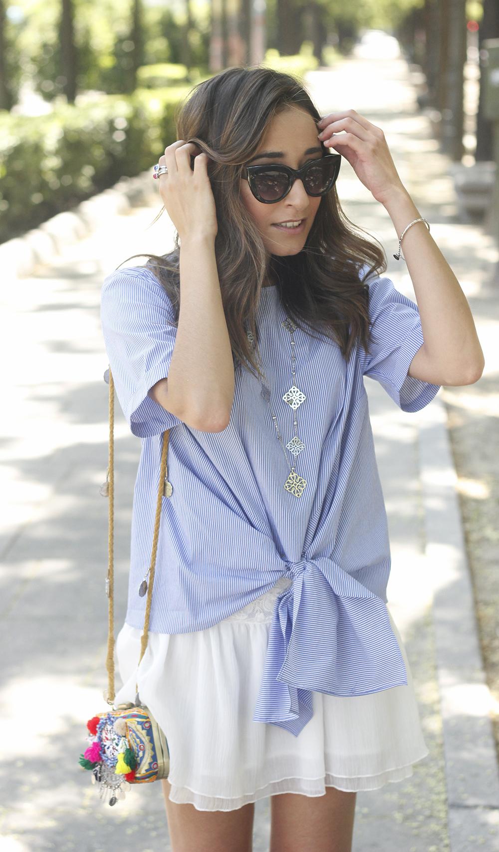 Knotted striped shirt white skirt brosway jewels summer outfit carolina herrera heelsfashion style12
