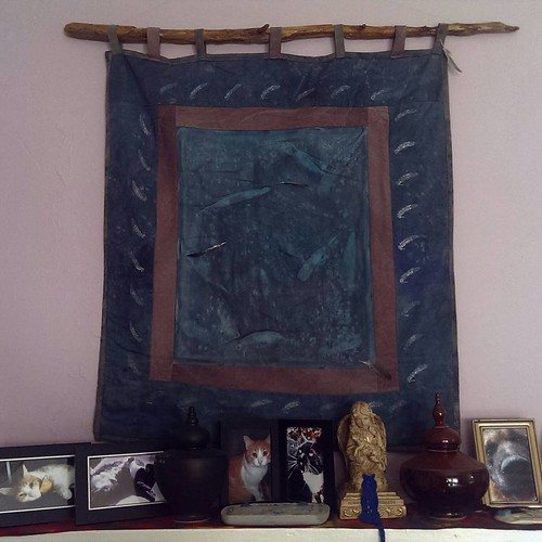 Day 26 of the #ctmonthinthelife  #if by @createandthrive  is #insitu ...   This is one of my first #artquilts hanging above the mantle in the bedroom where Dante, Max and Aries reside.   'Icarus Falling ' is #handdyed, #handsewn, #stamped, #embellished wi