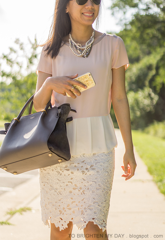 mixed pearl necklace, colorblocked peplum top, off-white floral lace pencil skirt, gray tote