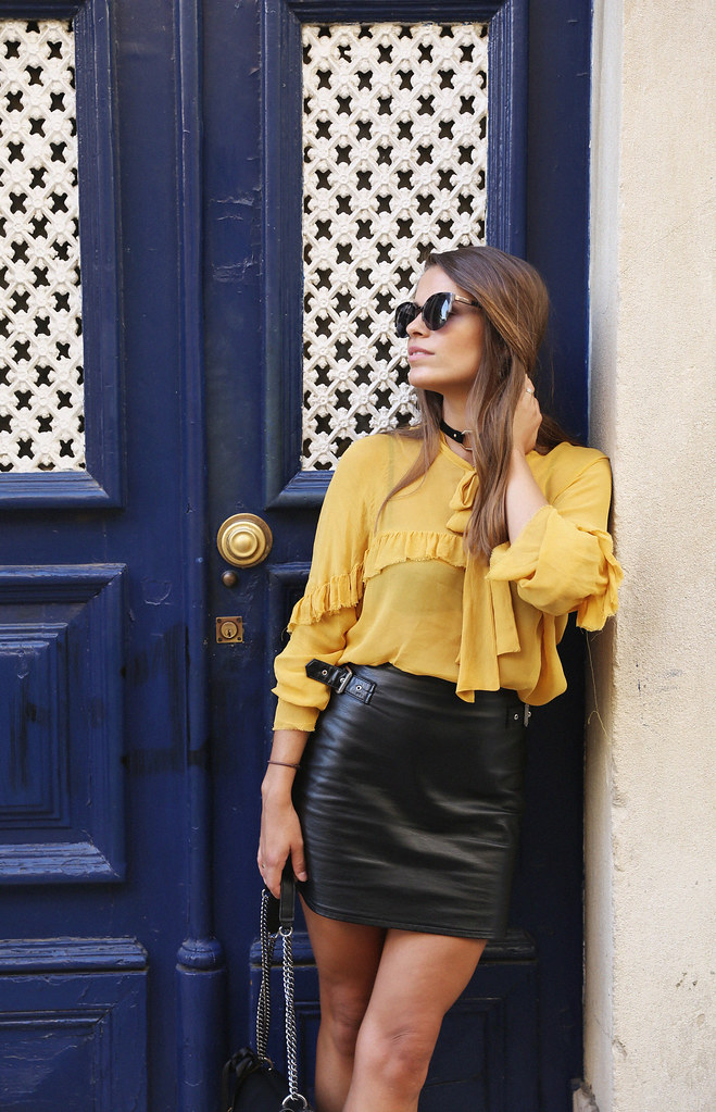 Jessie Chanes Seams for a desire Lisboa Parfois Mustard Ruffled Blouse Faux Leather Skirt-9