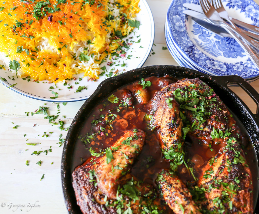 Georgina Ingham | Culinary Travels Photograph - Palomar Chicken with Olives & Saffron Tales Chelow. A true flavour of the Middle East