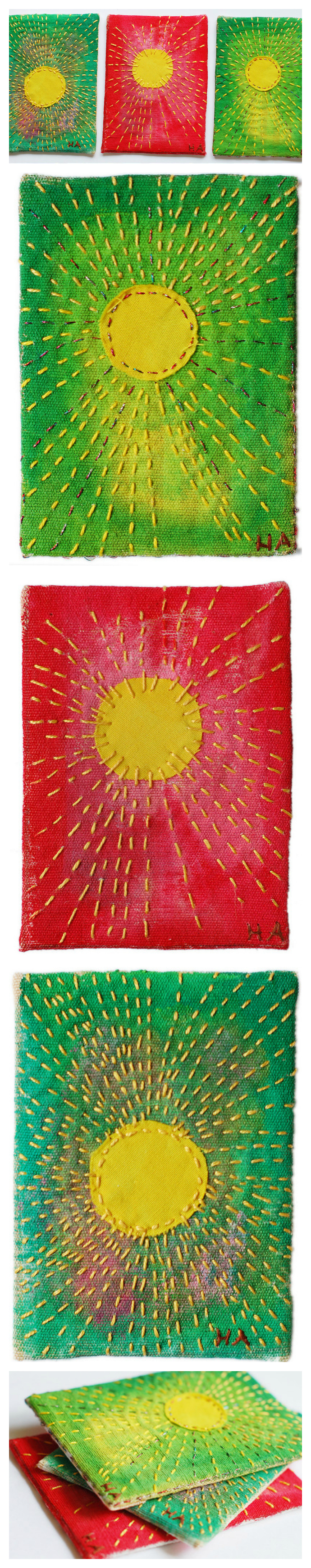 Sunshine ATCs embroidered by @ihanna (artist trading card) #embroidery #broderi
