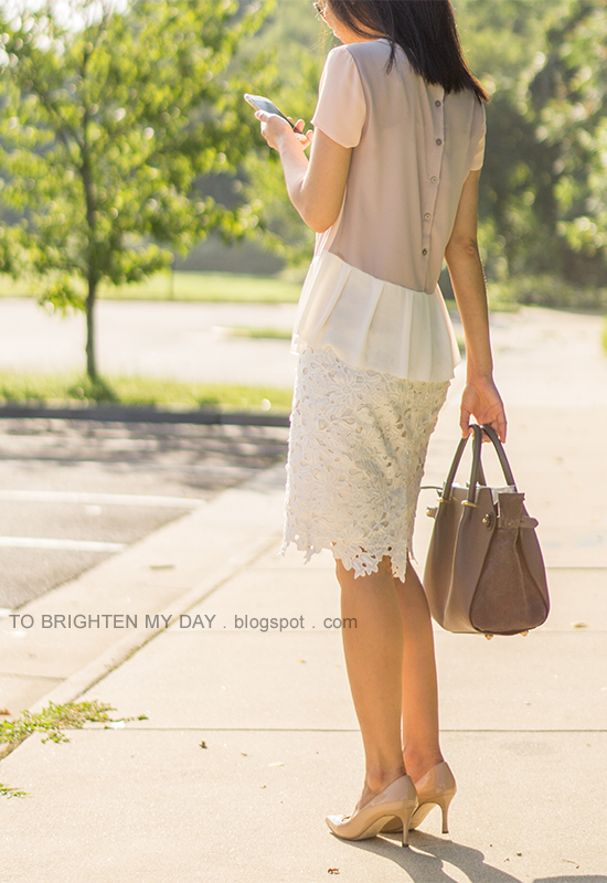 mixed pearl necklace, colorblocked peplum top, off-white floral lace pencil skirt, gray tote, nude pumps