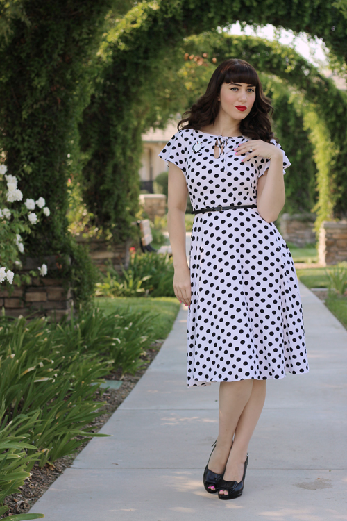Unique Vintage 1940s Style White & Black Dot Formosa Swing Dress