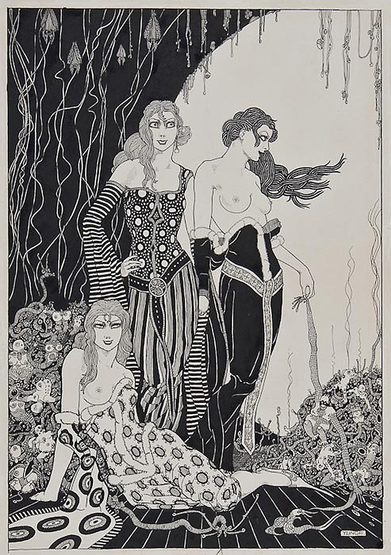 John Yunge Bateman - Three young women in cavern surrounded by small grotesque creatures, 1960