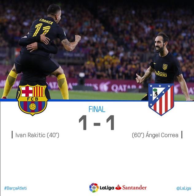 La Liga (Jornada 5): FC Barcelona 1 - Atlético de Madrid 1
