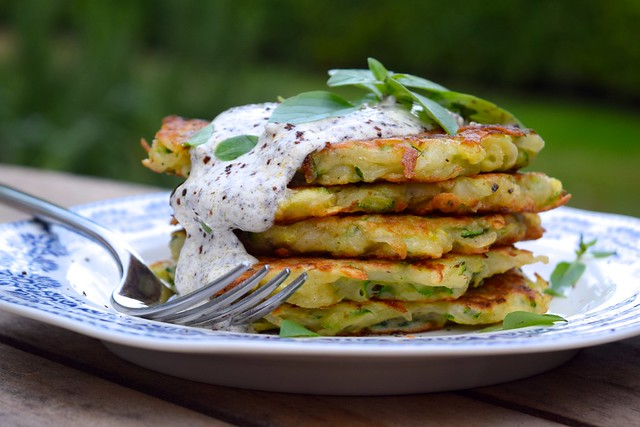 Courgette and Potato Fritters with Sumac Sauce | www.rachelphipps.com @rachelphipps