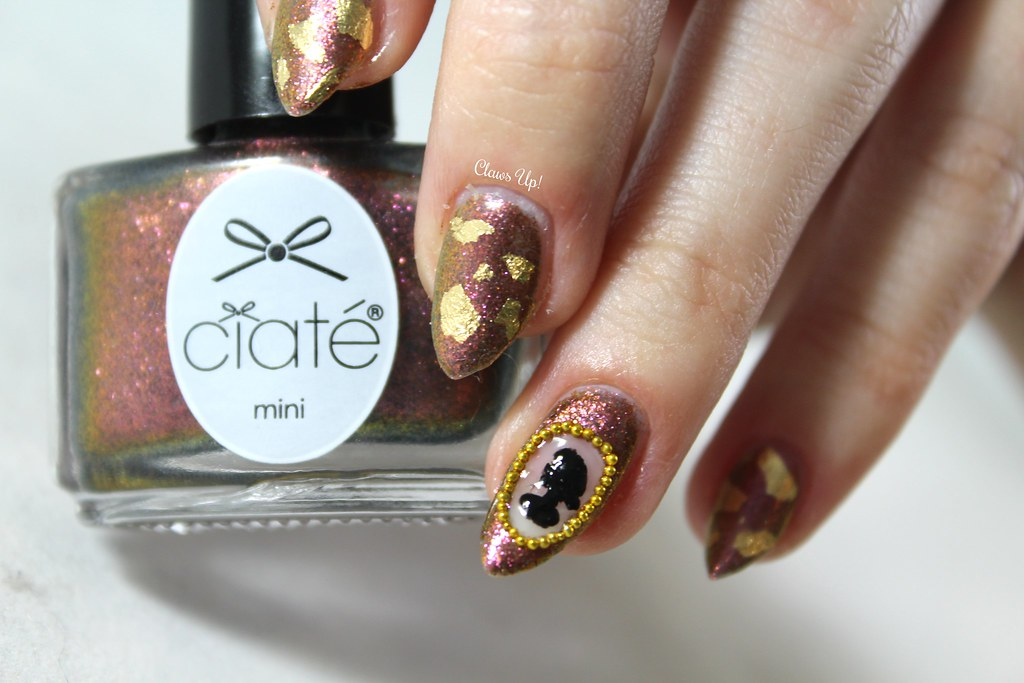 Gold flake and cameo nail art with Ciate Heirloom