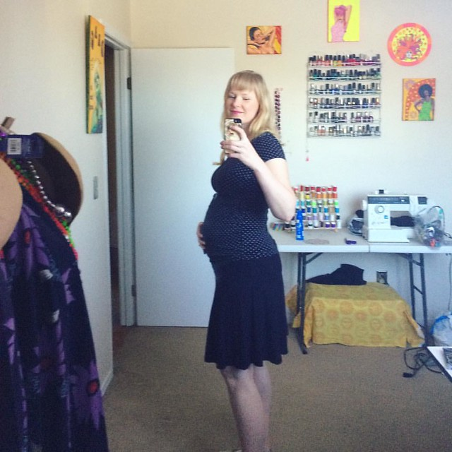 "BUMP. Enjoying my ""beauty room"" for a few more months before it becomes the baby room."