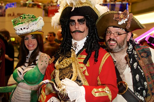 Captain Hook, Smee and a Crocodile