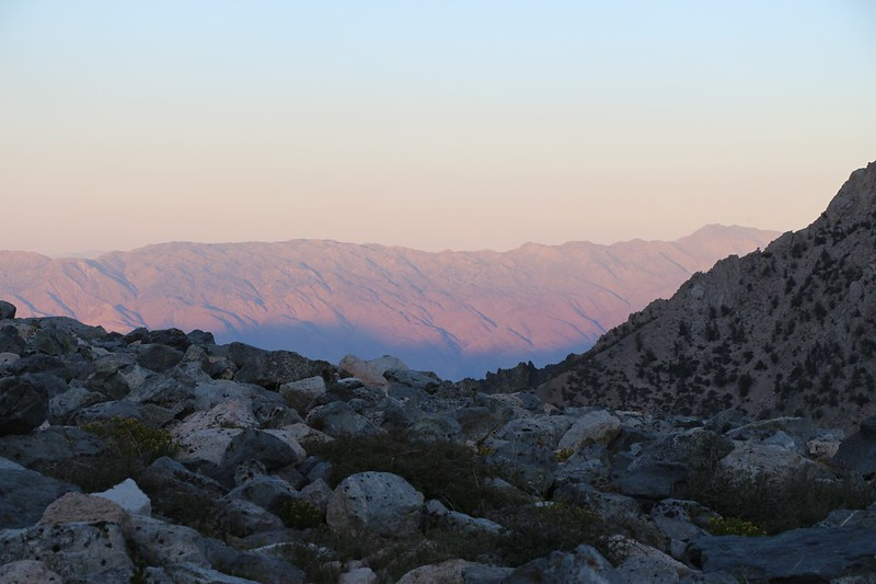 Zoomed-in view to the east as sunset creeps up the mountains across the Owens Valley