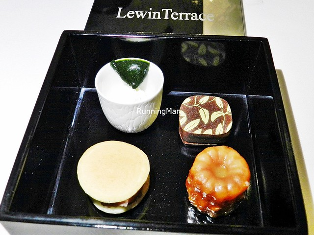 Small World - White Chocolate Cream With Matcha, Dorayaki, Vanilla Canelé, Jasmine Dark Chocolate