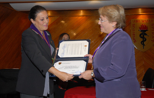 UN Women Executive Director Michelle Bachelet receives an honorary doctorate from Universidad Peruana Cayetano Heredia during her visit to Lima, Peru in October 2012 | by UN Women Gallery