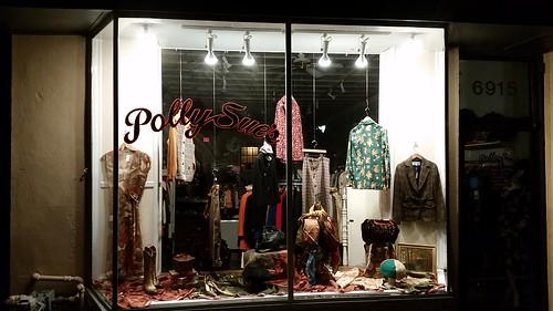 Polly Sue resale shop in Takoma Park, Maryland always does a great job merchandising their storefront windows