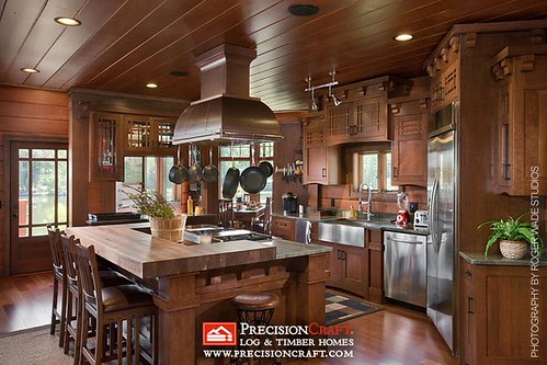 Timber Frame Kitchen | PrecisionCraft Log & Timber Homes | by PrecisionCraft Log & Timber Homes