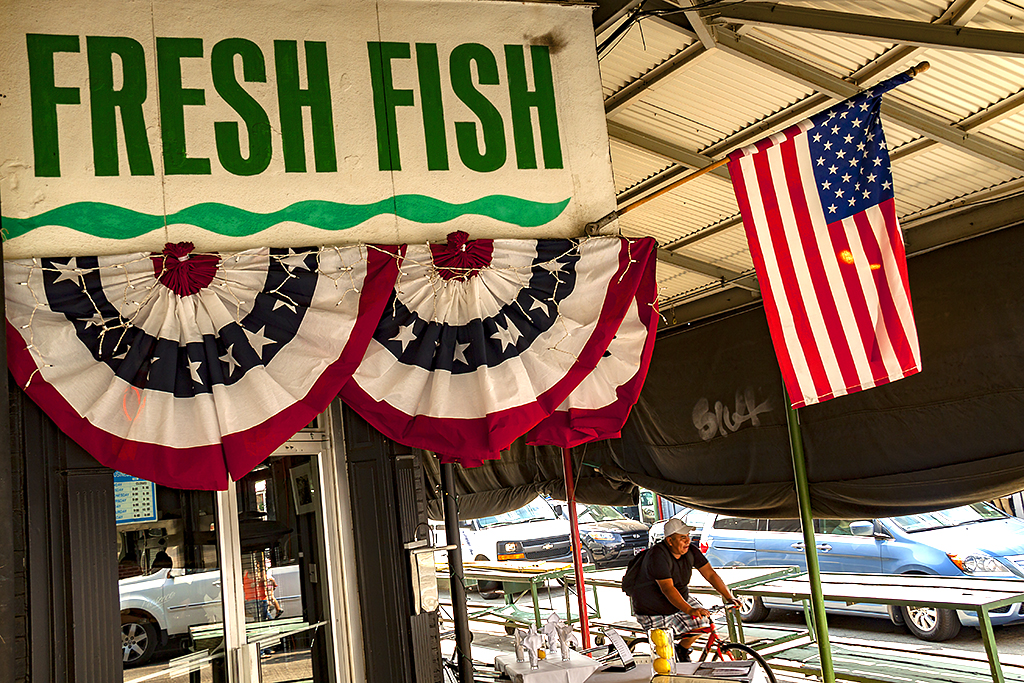 Flag and FRESH FISH--Italian Market