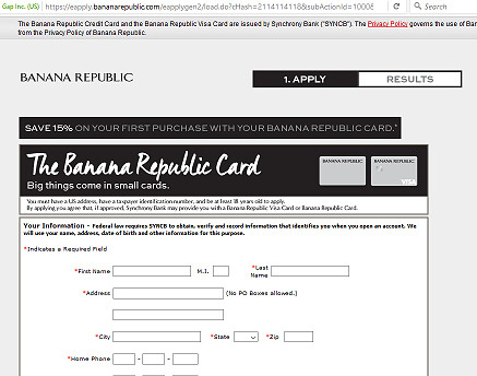 Banana Republic Credit Card payment
