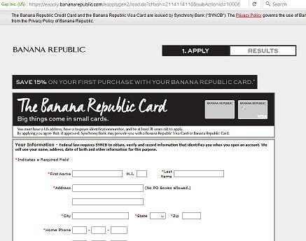 Banana Republic Credit Card payment