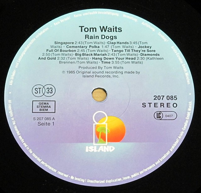"TOM WAITS RAIN DOGS 12"" LP VINYL"